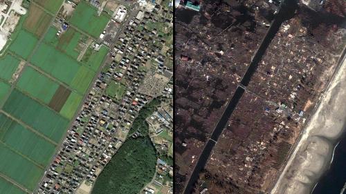 Comparativa antes y después del tsunami. (Pinchad en la foto para ver más)